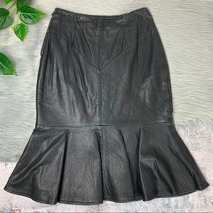 Michael Hoban North Beach Leather Trumpet Skirt